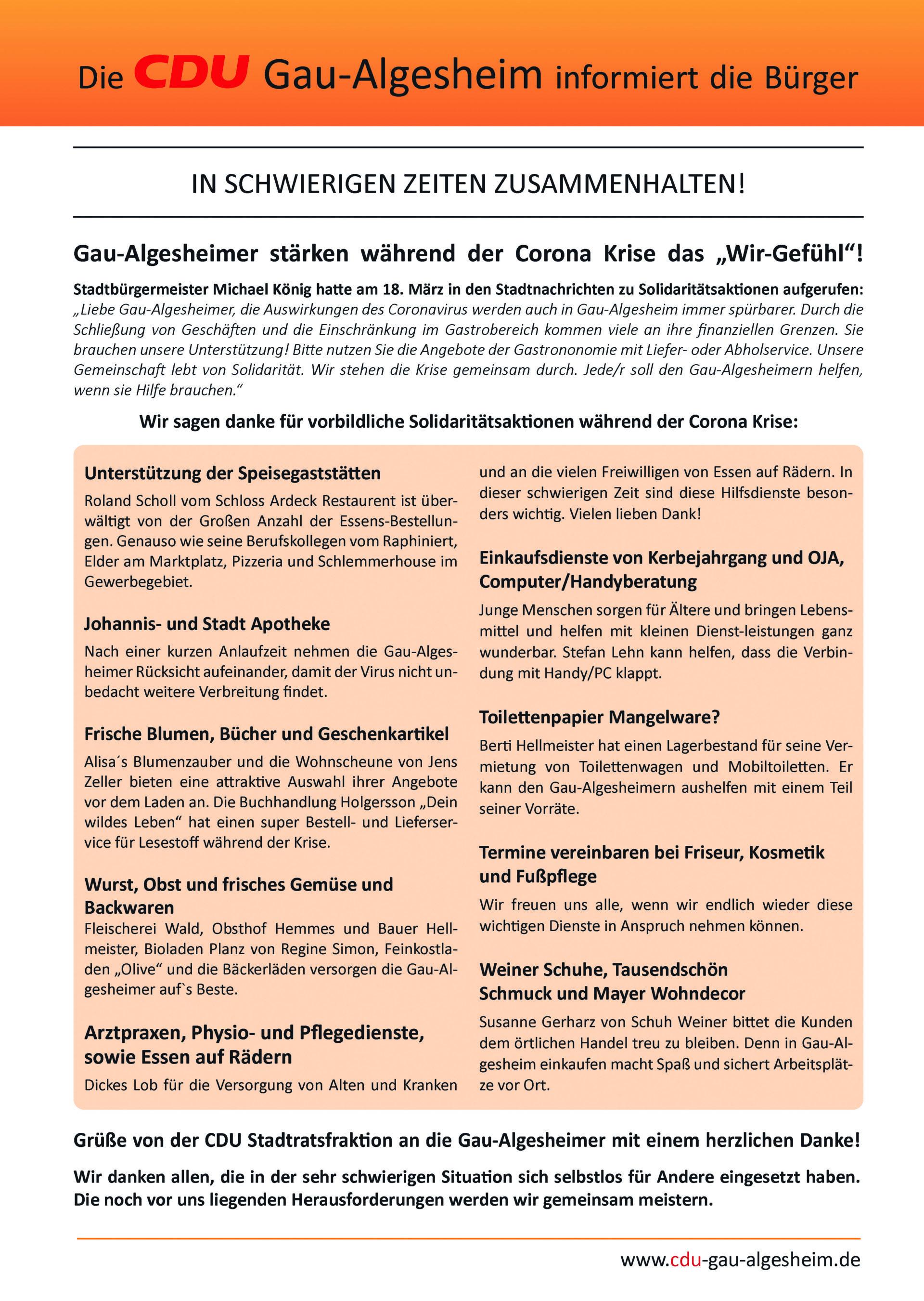 Information zur CoronaKrise